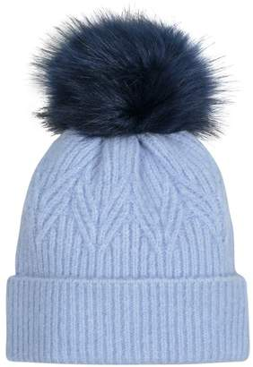 Oliver Bonas Leaf Knit Faux Fur Pom Blue Beanie Hat