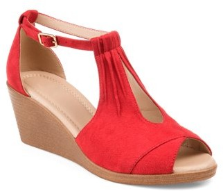 Co Brinley Womens Comfort-sole Ankle-strap Center-cut Wedges