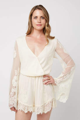 Show Me Your Mumu Cream Loretta Kimono Lace Romper Cream S
