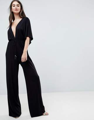 Asos DESIGN Jersey Plunge Jumpsuit with Kimono Sleeve and Rope Tie