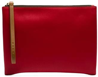 Marni green and red two-tone leather zip pouch