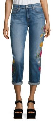 7 For All Mankind Josefina Embroidered Cuffed Boyfriend Jeans $299 thestylecure.com
