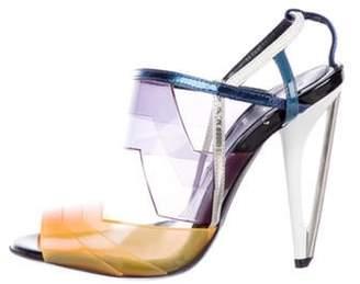 Fendi Rubber Ankle-Strap Sandals Orange Rubber Ankle-Strap Sandals