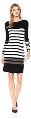 Sandra Darren Women's 1 Pc 3/4 Sleeve Sweater Striped Dress