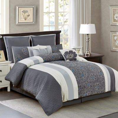 Wonder Home Kristen 8-Piece Queen Comforter Set in Grey