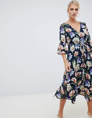 Vila floral midi dress with fluted sleeve