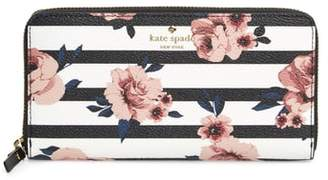 Kate Spade Hyde Lane - Rose Stripe Lacey Zip Around Wallet
