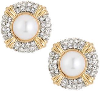 Kenneth Jay Lane Crystal & Pearly Stud Earrings