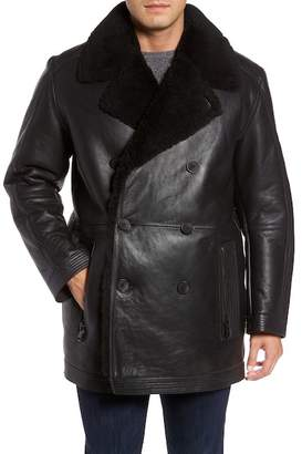 Andrew Marc Frontier Double Breasted Genuine Shearling Trim & Lined Jacket