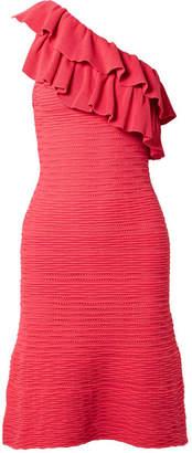 Rebecca Vallance Chiara One-shoulder Ruffled Ribbed-knit Dress - Red