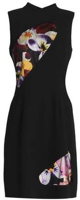 Christopher Kane Floral Print-Paneled Wool-Crepe Mini Dress