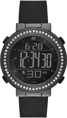 Skechers Womens Black Dial Black Silicone Strap Digital Watch