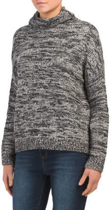 Chenille Mix Yarn Funnel Neck Sweater