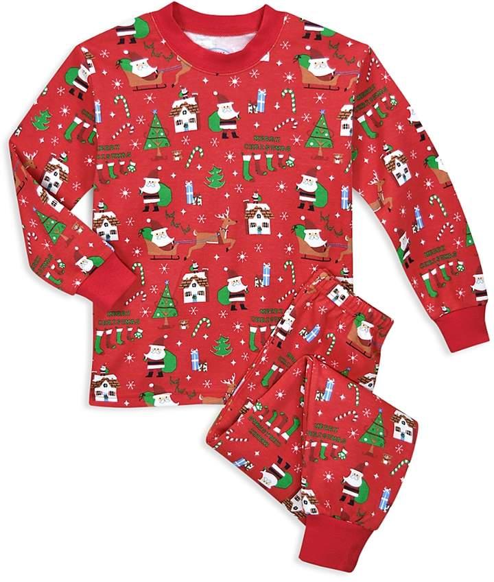 Unisex Santa-Print Holiday Pajama Set - Little Kid