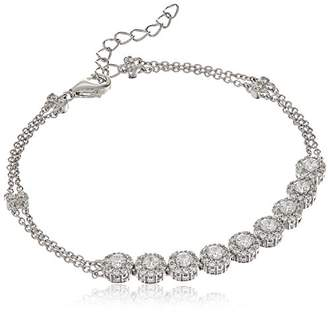 Swarovski Platinum Plated Sterling Round Halo Zirconia Adjustable Bracelet