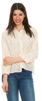 Brio LADIES WEAR Women's Collared Button down long sleeve top (Pink/White, Medium)