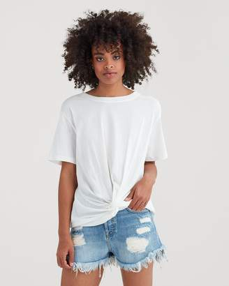 7 For All Mankind Knotted Front Tee in White