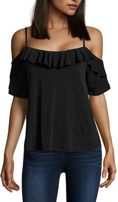BUFFALO JEANS i jeans by Buffalo Ruffle Cold Shoulder Top $44 thestylecure.com