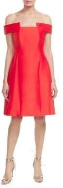Halston Off-The-Shoulder Fit-&-Flare Dress