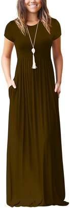 ZIOOER Women Short Sleeve Loose Plain Maxi Dresses Casual Long Pockets Dresses S