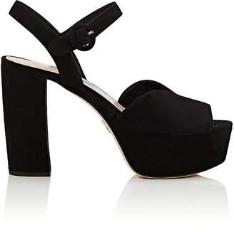 Prada Women's Suede Platform Ankle-Strap Sandals