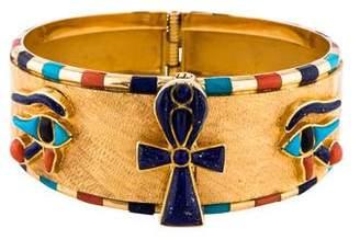 Lapis 18K Lazuli, Turquoise & Coral Egyptian Hinged Bangle