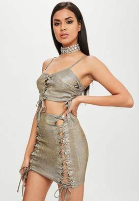 Missguided Carli Bybel x Gold Metallic Lace Up Skirt