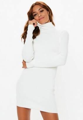 Missguided Petite White Turtle Neck Ribbed Knit Mini Dress