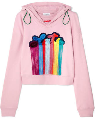 Mira Mikati Tasseled Embroidered Cotton-jersey Hooded Top