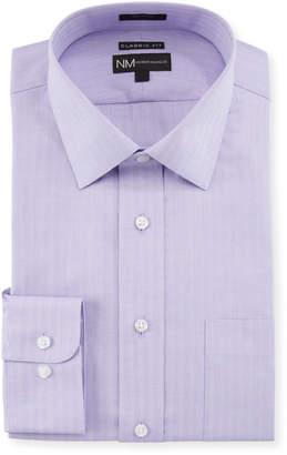 Neiman Marcus Men's Classic Fit Regular Finish Dobby Texture Stripe Dress Shirt