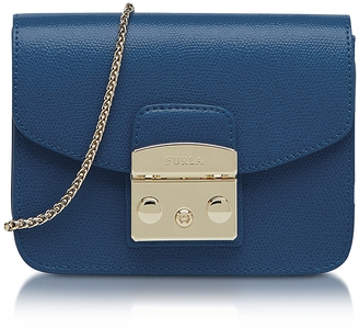 Furla Metropolis Mini Blue Ginepro Leather Crossbody Bag $298 thestylecure.com