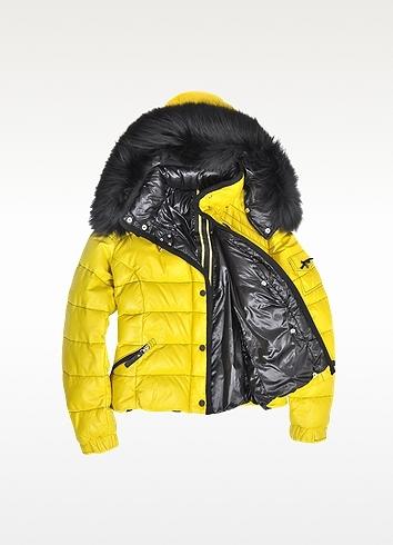 Forzieri Yellow Leather Puffer Jacket w/Detachable Fur Hood