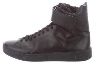 Prada Sport Leather Strap High-Top Sneakers