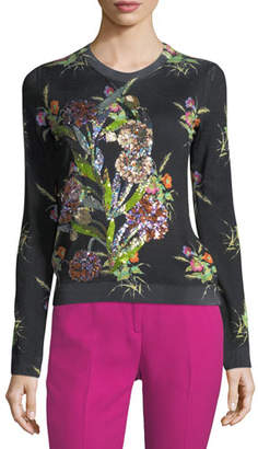 No.21 No. 21 Crewneck Multicolor Floral-Print Sweater with Sequins