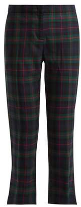Burberry Tartan Wool Blend Cropped Trousers - Womens - Multi