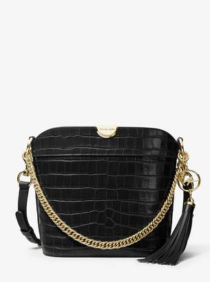 MICHAEL Michael Kors Bea Medium Crocodile-Embossed Leather Bucket Shoulder Bag