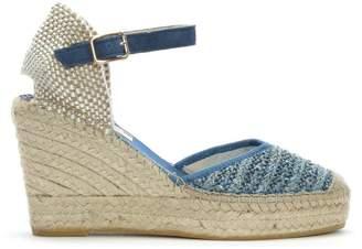 9e8c57d1b692 at Daniel Footwear · Brunate Vidorreta Dubnium Blue Woven Wedge Espadrilles
