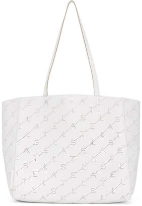 Stella McCartney White Small Perforated Logo Tote