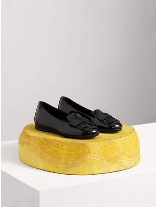 Burberry Bow Detail Patent Leather Ballerinas , Size: 27, Black