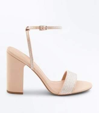 New Look Nude Diamanté Strap Block Heeled Sandals