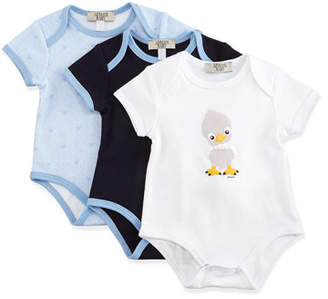 Armani Junior Cotton Playsuit Gift Set, Blue, Size 3-9 Months