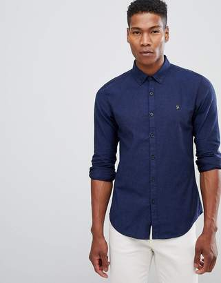 Farah Steen slim fit textured stretch shirt in blue