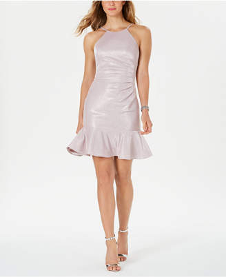 Night Way Nightway Ruched-Side Flounce-Hem Dress
