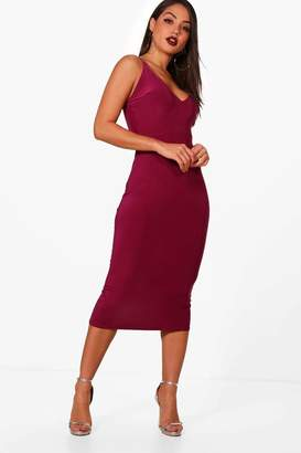 boohoo Strappy Plunge Detail Midi Dress