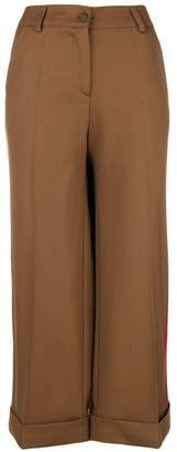 P.A.R.O.S.H. side striped cropped trousers