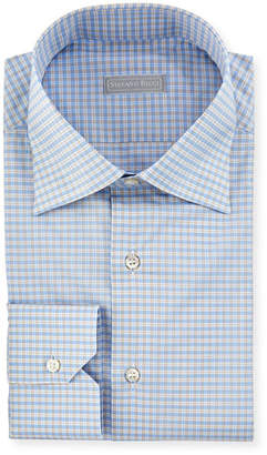 Stefano Ricci Small-Check Dress Shirt with Button-Down Collar