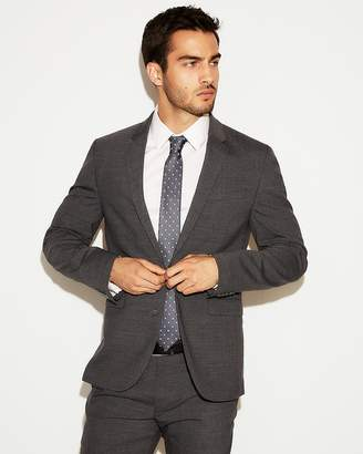 Express Extra Slim Charcoal Gray Check Stretch Wool-Blend Suit Jacket
