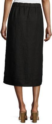 Eileen Fisher Heavy Organic Linen Midi Skirt $198 thestylecure.com