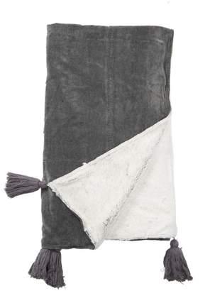 INDABA Velvet Tassel Throw - Charcoal