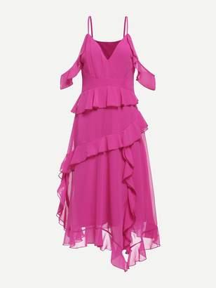 Shein Neon Pink Ruffle Detail Cold Shoulder Dress